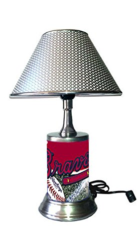 JS Braves Table Lamp Chrome Shade, Your Favorite Team Plate Rolled in on The lamp Base, AB, ()