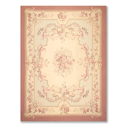 (9'x12' Beige Aqua Rose, Pale Pink, Rust, Brown, Multi Color Hand Woven Aubusson Area Rug 100% Wool Traditional Design Oriental)