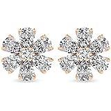1.02 Carat Pear Round IGI Certified Diamond Cluster Earring, IJ-SI Diamond Flower Studs Earring, Minimal Women Birthday…