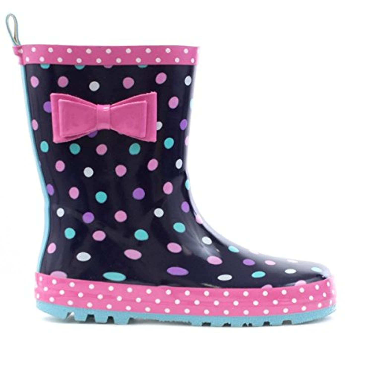 Wellygogs - Girls Wellygogs Navy Welly with Multi Spots - Size 1 - Blue