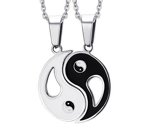 Mealguet Jewelry 2 Pieces Stainless Steel Best Friend Yin Yang Puzzle Matching Set Tai Chi Couples Pendant Necklace for Men Women