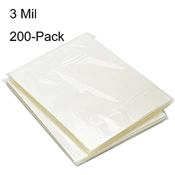 BESTEASY 3 Mil Clear Letter Size Thermal Laminating Pouches, 8.9'' x 11.4'', Pack of 200