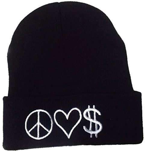 E-SHINE CO nuevo negro paz amor dinero bordado Beanie cráneo tapa sombrero de hip hop