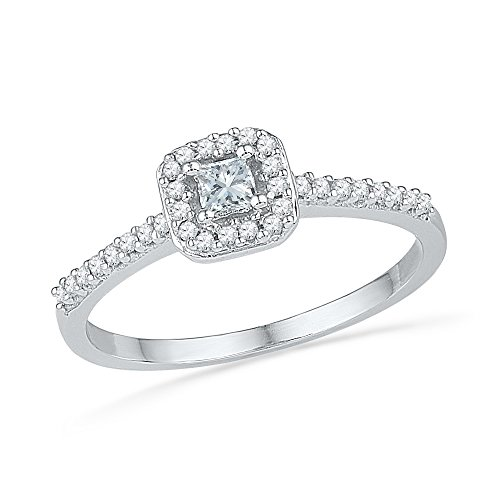 1/4 Ct Princess Solitaire Ring (10kt White Gold Womens Princess Diamond Solitaire Square Halo Bridal Wedding Engagement Ring 1/4 Cttw)