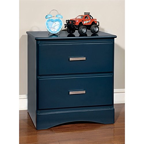 Furniture of America Geller 2 Drawer Nightstand in Currant Blue