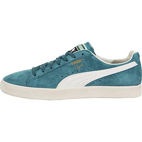 Puma Clyde - PUMA Men's Clyde Premium Harbor Blue/Whisper White Ankle-High Suede Fashion Sneaker - 11M