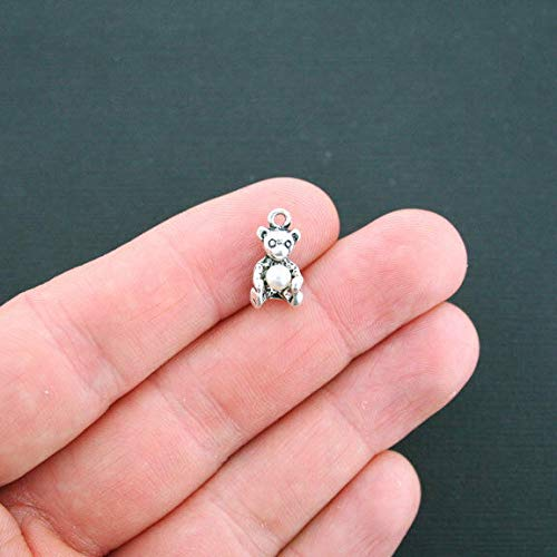 5 Teddy Bear Charms Antique Silver Tone 3D with Pearl Jewelry Making Supply Pendant Bracelet DIY Crafting by Wholesale Charms