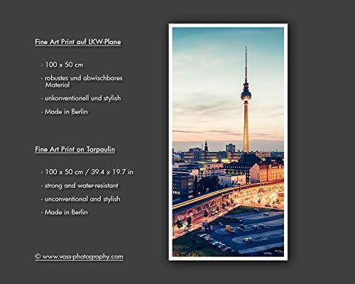 100 x 50cm **Berlin Unkonventionell und stylish: Fine Art Print auf LKW-Plane Analoge Fotografie Fernsehturm ** Foto-Kunst Schwarzweiss