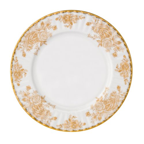 Royal Albert Old Country Roses Gold 8-inch Fluted Dessert Plate Old Country Roses Gold Fluted