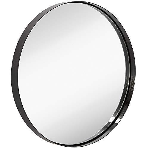 "24"" Black Circle Deep Set Metal Round Frame Mirror Contemporary Brushed Metal Black Wall Mirror | Glass Panel Deep Set Design (24"" Round)"