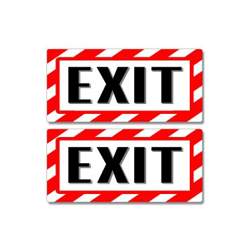 Exit Sign - Alert Warning - Set of 2 - Window Business -