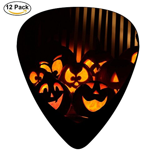 Guitar Picks Celluloid Halloween Pumpkins Exclusive 12 Pack Shape For Acoustic Guitar Mandolin Electric Guitar And Bass -