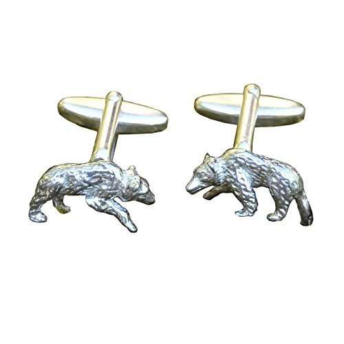 Grizzly Bear Cufflinks, Bear Cuff Links, Handcast, Fine Pewter, by William Sturt