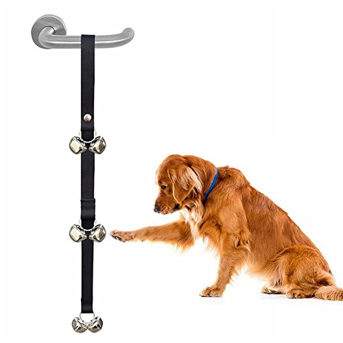 Draft Center Ice (AA Dog Potty bell Training Puppy Doorbell Black Nylon Adjustable Housetraining Door)