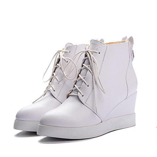AllhqFashion Womens Ankle-high Zipper Soft Material High-Heels Pointed Closed Toe Boots White j4ImI