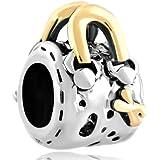 Pugster Bijoux Drops Femme Charms Brief Case Two Tone Pour Pandora Charms Perles Bracelet DPC1662