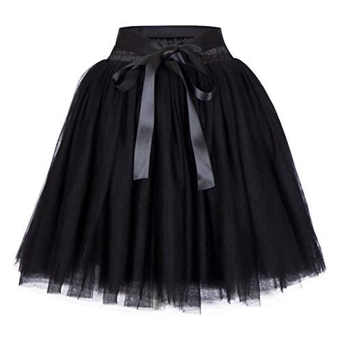 Mode Dancing Élégant Noir Jupe Le Sequins Vintage 50s La Tutu En Bulles Plus Unie Mini Couleur Nouveau Tulle Années De Femme Style Dentelle Décontracté Courte,❤Qingxia À zi PXukZTOi