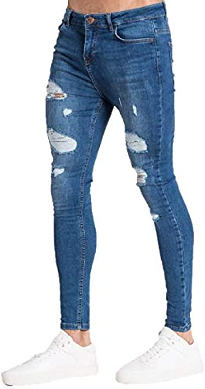 Mikely Store Męskie-Jeans, schmale Passform, elastisch, gestreift, modisch, konisch Gr. 36-41, C-deep blue: Odzież