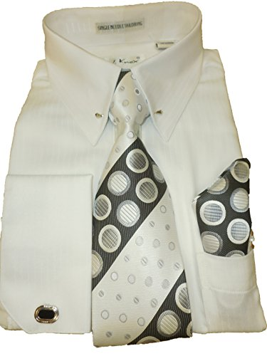 Karl Knox SX4367 Mens White Pinned Collar Striped French Cuff Dress Shirt (XL 17.5 collar 36/37 sleeve) White Pointed Collar Dress Shirt
