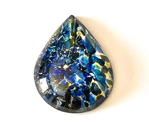 Qty 1 - Vintage 40x30mm Sea Blue Fire Opal Pear, Flat Back G