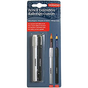 Derwent Pencil Extender Set, Silver and Black, For Pencils up to 8mm, 2 Pack (2300124)