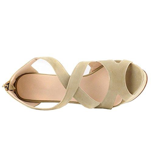 MERUMOTE - Sandalias de vestir de Material Sintético para mujer Aprikose-Faux Wildleder