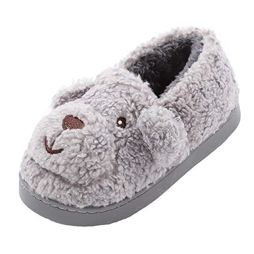 - Boys Girls Doggy Warm Indoor Slippers Fleece Plush Bedroom House Shoes Non Slip Winter Boots Gray 12 M