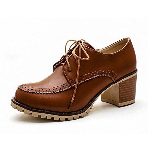 Balamasa Damer Urholka Lace-up Mjuka Material Pumpar-shoes Bruna
