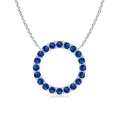 Eternity Round Blue Sapphire Open Circle Pendant in 14K White Gold (1.5mm Blue Sapphire)