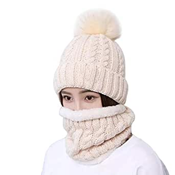 Home Prefer Womens Winter Beanie Hat Scarf Set Warm Fuzzy Knit Hat Neck Scarves (B-Beige)