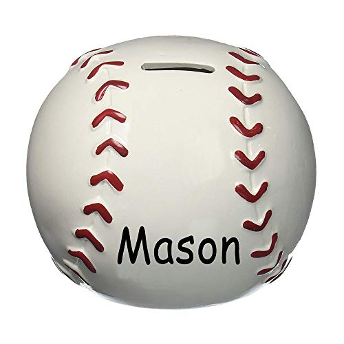 Personalized Sports Baseball Round Shaped Ceramic Piggy Bank Coin Bank with Custom Name by Burton & Burton (Image #1)