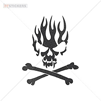 Vinyl sticker decals flame skull design si sports bike 6 x 484 in