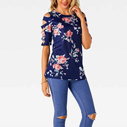 Shirts Manica Basic Blau Tshirt Estivi Camicetta Ragazza Off Eleganti Corta Fiore Bluse Moda Modello Shoulder Casual Rotondo Tunica Donna Collo dSBFAA