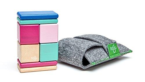 8 Piece Tegu Pocket Pouch Magnetic Wooden Block Set, Blossom