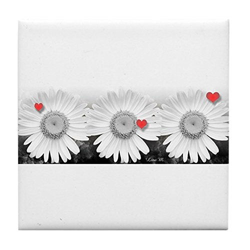CafePress - Daisies And Hearts - - Tile Coaster, Drink Coaster, Small - Daisy Coaster Tile