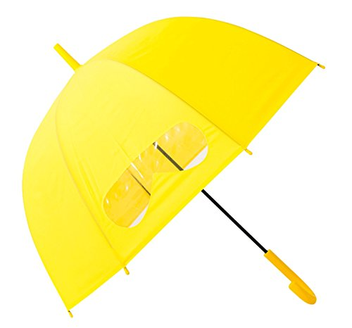 Kids Umbrella Windproof, HAOCOO Auto Open Bubble Dome Umbrella Sun Rain Compact 8 Stick Umbrella Canopy for Boys Girls Outdoor with Clear Window Panel (Yellow)