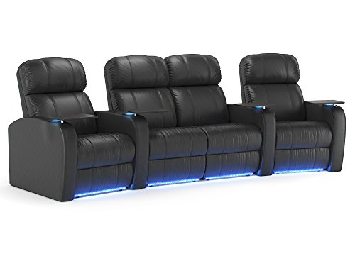 Diesel XS950 Home Theater Recliners - Black Leather - Accessory Dock - Lighted Cup Holders - Memory Foam - Power Recline - Curved Row of 4 Chairs with Loveseat Middle