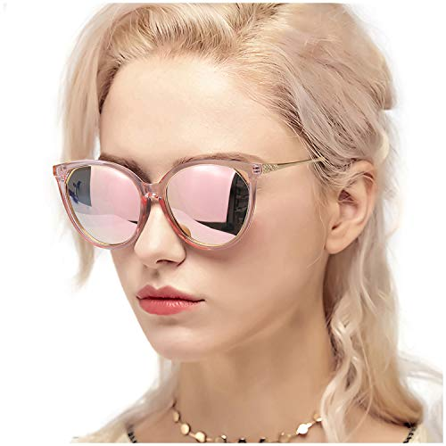 Myiaur Fashion Cat Eye Sunglasses Women, Polarized Mirror Glasses, Stylish Style Design, for UV Protection/Driving/Outdoor (Pink Transparent Cateye Frame Gold Rose Mirror Glasses)