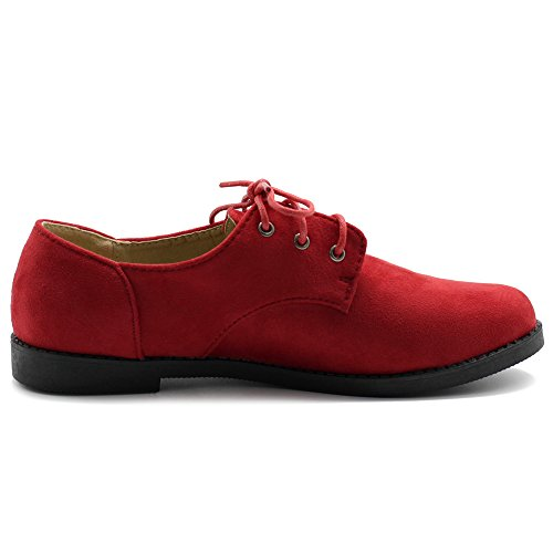 Image of Ollio Women Classic Flat Shoe Lace Up Faux Suede Oxford