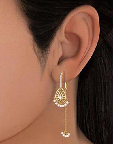 18K Or jaune 0,13CT TW White-diamond (IJ | SI) et blanc perle Pendants d'oreilles
