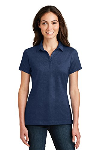 Port Authority Women's Rmk Ladies Meridian Cotton Blend Polo Black Training Shirts (Pack of 36), Estate Blue, Large