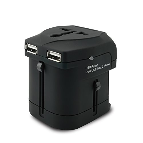 Price comparison product image MOBIMANN Universal World Travel Adapter with 2 USB Ports UK, US, AU, Europe Plug Adapter Over 150 Countries USB Power Adapter for iPhone, Android, All USB Devices