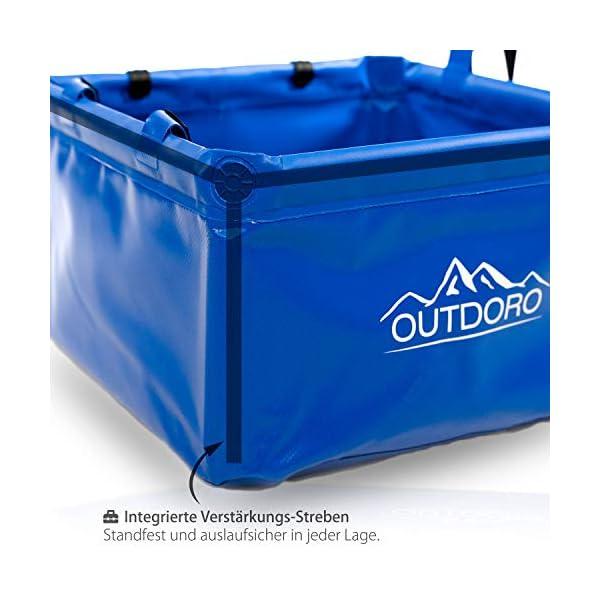 41EgYRkBcDL Outdoro Faltschüssel Groß - 16/22 Liter - Inklusive Zusatz-Tasche - Langlebiges Planen-Gewebe - Faltbare Waschschüssel…