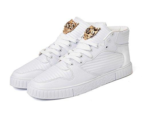 HYLM Hombre Casual Skateboard Zapatos Personalizados Metal Tigre Cabeza Decoración Zapatos Al Aire Libre White