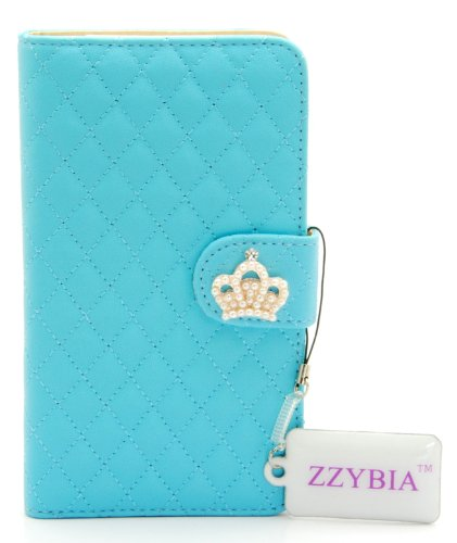 ZZYBIA® NOTE III 3 QC Light Blue Leatherette Stand Case Card Holder Wallet for Samsung Galaxy Note III 3 N9000 N9005