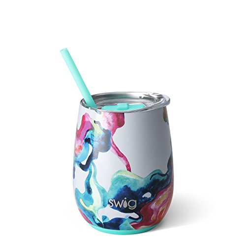 Swig Life Stainless Steel Signature 14oz Stemless Wine Cup with Spill Resistant Slider Lid and Reusable Straw in Color Swirl