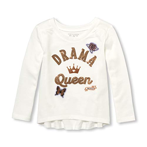(The Children's Place Toddler Girls' Drama Queen Long Sleeve Top, Simplywht, 2T)