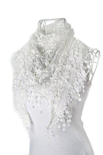 DaySeventh Fashion Lace Tassel Sheer Burntout Floral Print Triangle Mantilla Scarf Shawl (White)