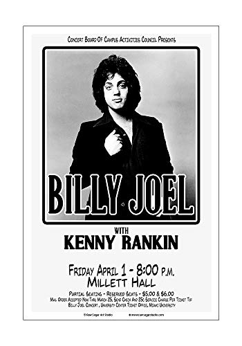 (Raw Sugar Art Studio Billy Joel 1977 Miami University Concert Poster)