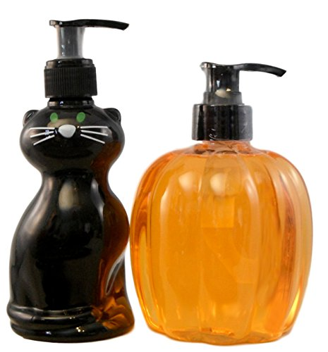 Hauntingly-Spooky-Hand-Soap-Set-2-Bottles-of-Scented-Halloween-Soap-Black-Cat-and-Pumpkin